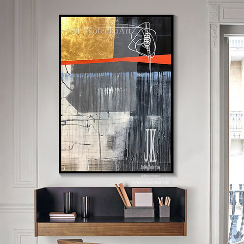 Large Abstract Painting on Canvas Gold Leaf Painting Gray Painting by Julia Kotenko