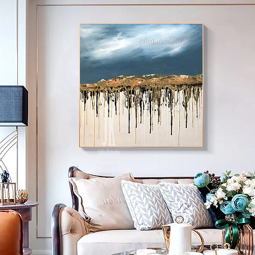 Abstract Mountain Wall Art,Gold Leaf Painting,Canvas Art Large by Julia Kotenko