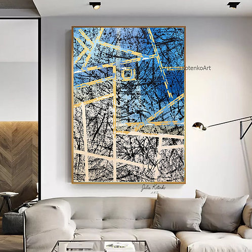 Blue and White Wall Art, Geometrci Painting, Gold Painting by Julia Kotenko