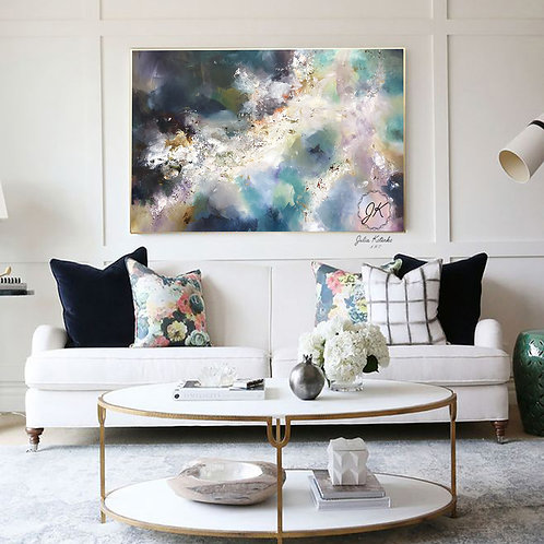 Large Wall Art Bedroom Above Bed, Abstract Oil Painting by Julia Kotenko