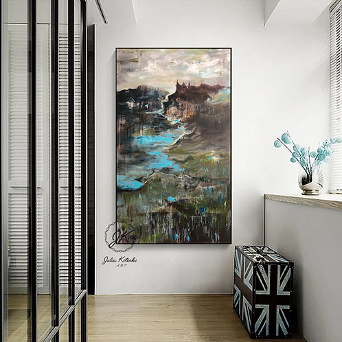 Abstract Landscape oil painting on canvas by Julia Kotenko