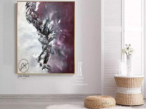 Burgundy Wall Decor, Canvas Art Large, Extra Large Artwork by Julia Kotenko