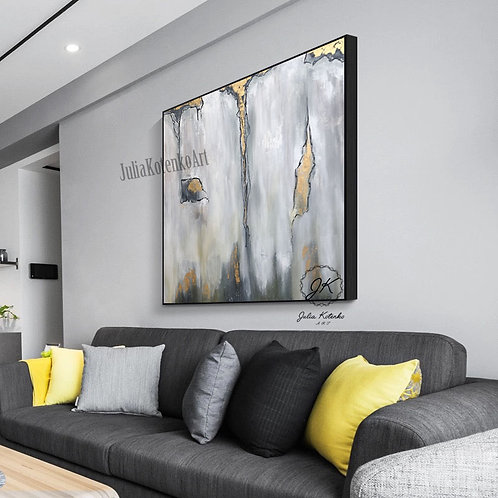 Grey Painting,Gold Leaf Painting, Oil large painting,Grey abstract canvas by Julia Kotenko