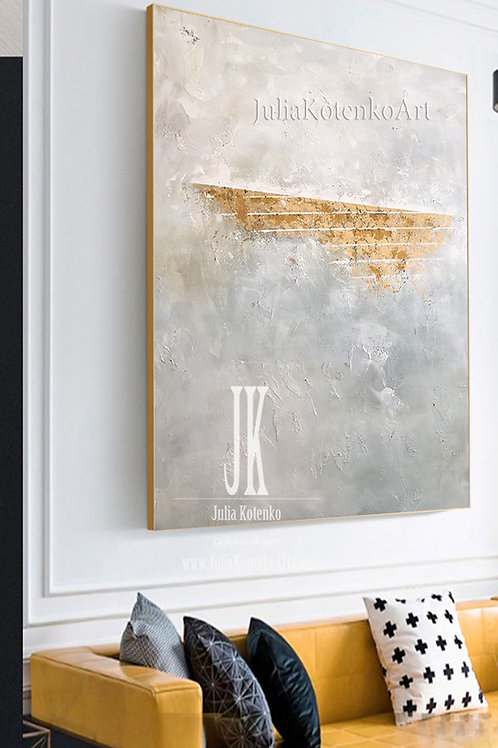 Large Canvas Art White Abstract Canvas Art Texture Wall Art Gold Leaf Painting by Julia Kotenko