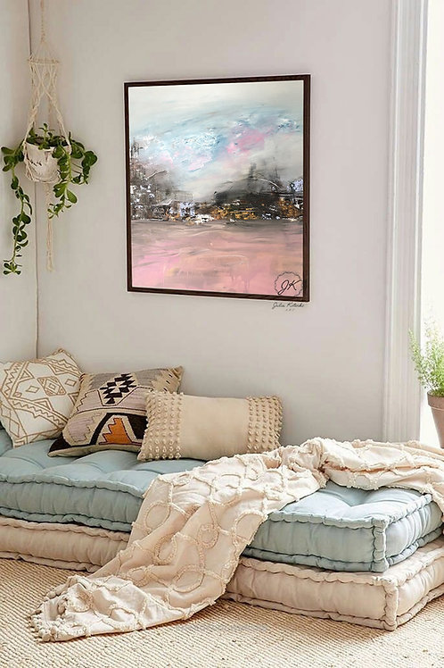 Original Landscape Canvas Painting, Pink abstract landscape by Julia Kotenko
