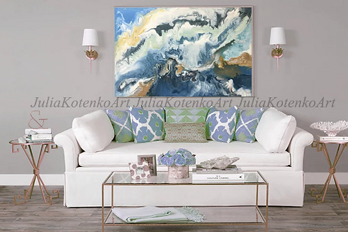 Large Abstract Sea Acrylic Painting on Canvas by Julia Kotenko
