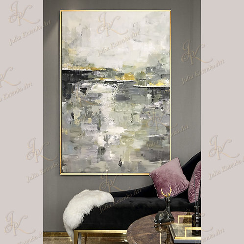 Abstract Acrylic Painting Landscape Abstract Gold Painting on Canvas by Julia Kotenko