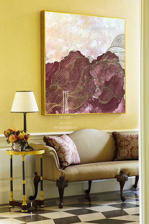 Burgundy Painting, Gold Leaf Painting, Original Art Canvas, Abstract Painting, Large Abstract Artwork  by Julia Kotenko