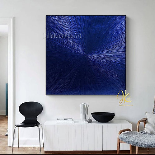 Large Blue Painting, Large Wall Art, Blue Wall Decor, Texture Wall Art,Over the Bed Decor
