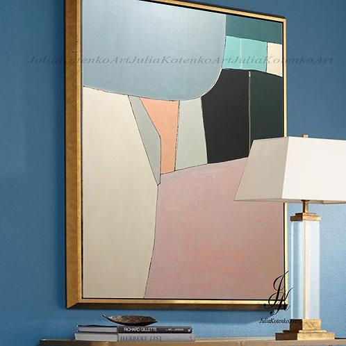 Geometric Painting Abstract Oil Painting Modern Art by Julia Kotenko