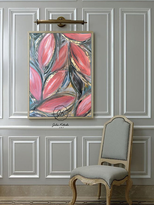 Large Abstract Oil Painting, Large Wall Art, Above Bed Decor