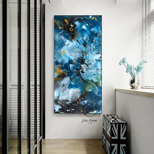Extra Large wall art, Blue Wall Decor, Textured Abstract Painting by Julia Kotenko