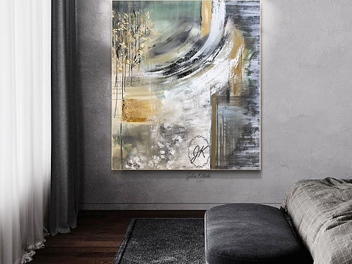 Large Abstract Wall Art, Green Gray Painting, Original Abstract Painting by Julia Kotenko