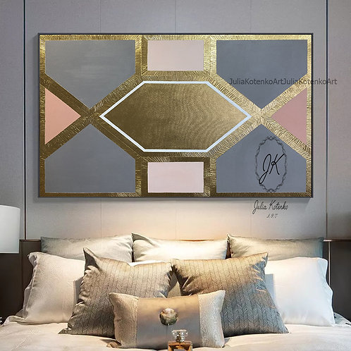 Extra Large Wall Art,Gold Leaf Painting,Texture painting by Julia Kotenko