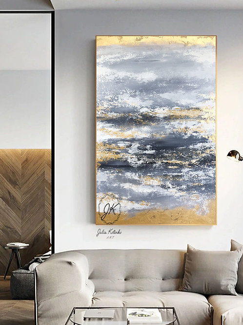 Grey abstract canvas, Gold Leaf Painting, Large abstract artwork by Julia Kotenko