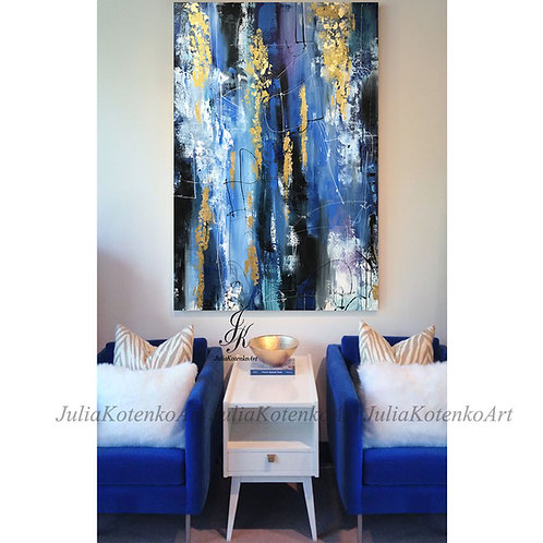 Large Abstract Painting Gold Leaf Art on Canvas by Julia Kotenko