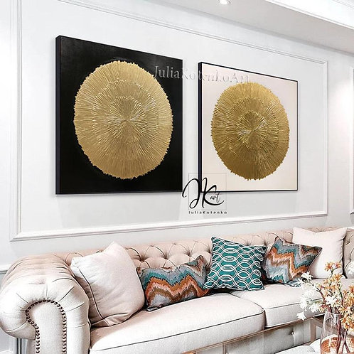 Oversize Gold Wall Decor Gold Leaf Painting Texture Wall   Set of 2 Gold leaf