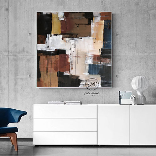 Geometric Painting, Abstract Acrylic Painting on canvas by Julia Kotenko