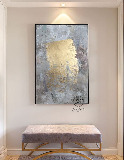 Extra Large Wall Art Textured Gold Leaf Canvas By Julia Kotenko