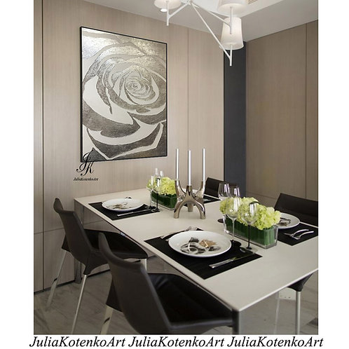 Rose Silver Painting Textured Painting on Canvas by Julia Kotenko
