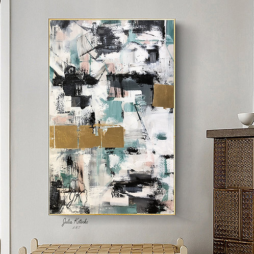 White Gray Painting,Gold leaf Painting,Original Painting Abstract by Julia Kotenko