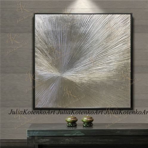 8670d2a6cb3 Silver Leaf Art Original Texture Abstract Painting on Canvas by Julia  Kotenko