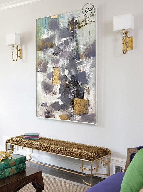 Original Abstract Geometric oil painting,Gold Leaf Painting, Modern Decor,Textured Wall Art by Julia Kotenko