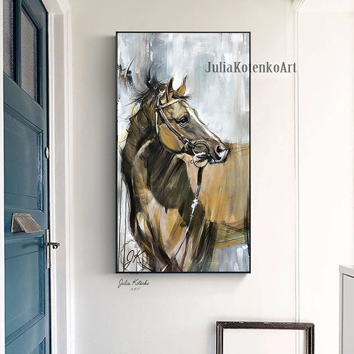HORSE OIL PAINTING, Large Canvas Art, Original Horse Painting, Canvas Wall Art by Julia Kotenko