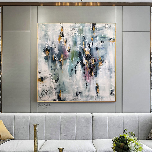 Large wall art canvas, White abstract canvas art,Gold leaf painting by Julia Kotenko