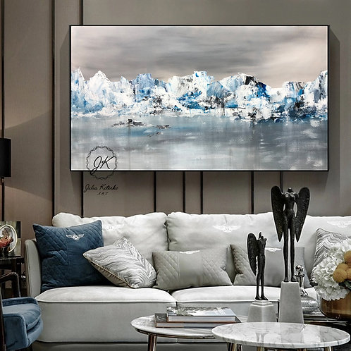 Landscape Abstract Acrylic Painting, Textured Painting, Living Room Wall Art by Julia Kotenko