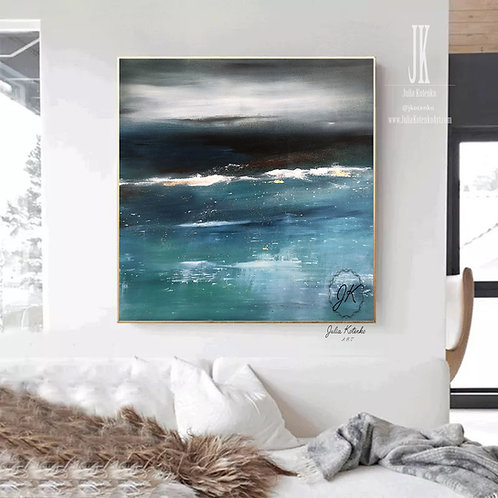 Large Canvas Wall Art, Abstract Landscape Painting, Teal Blue Wall Decor by Julia Kotenko