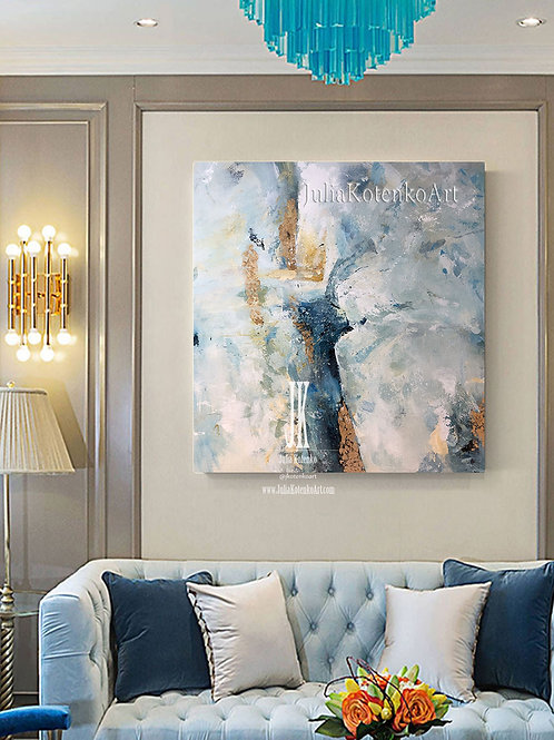 Large Canvas Painting Oversize Abstract Painting Blue Abstract Canvas by Julia Kotenko