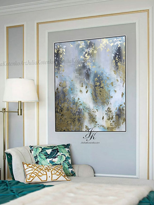 Large Abstract Oil Painting Gold Leaf Silver Leaf Art Wall Decor on Canvas by Julia Kotenko