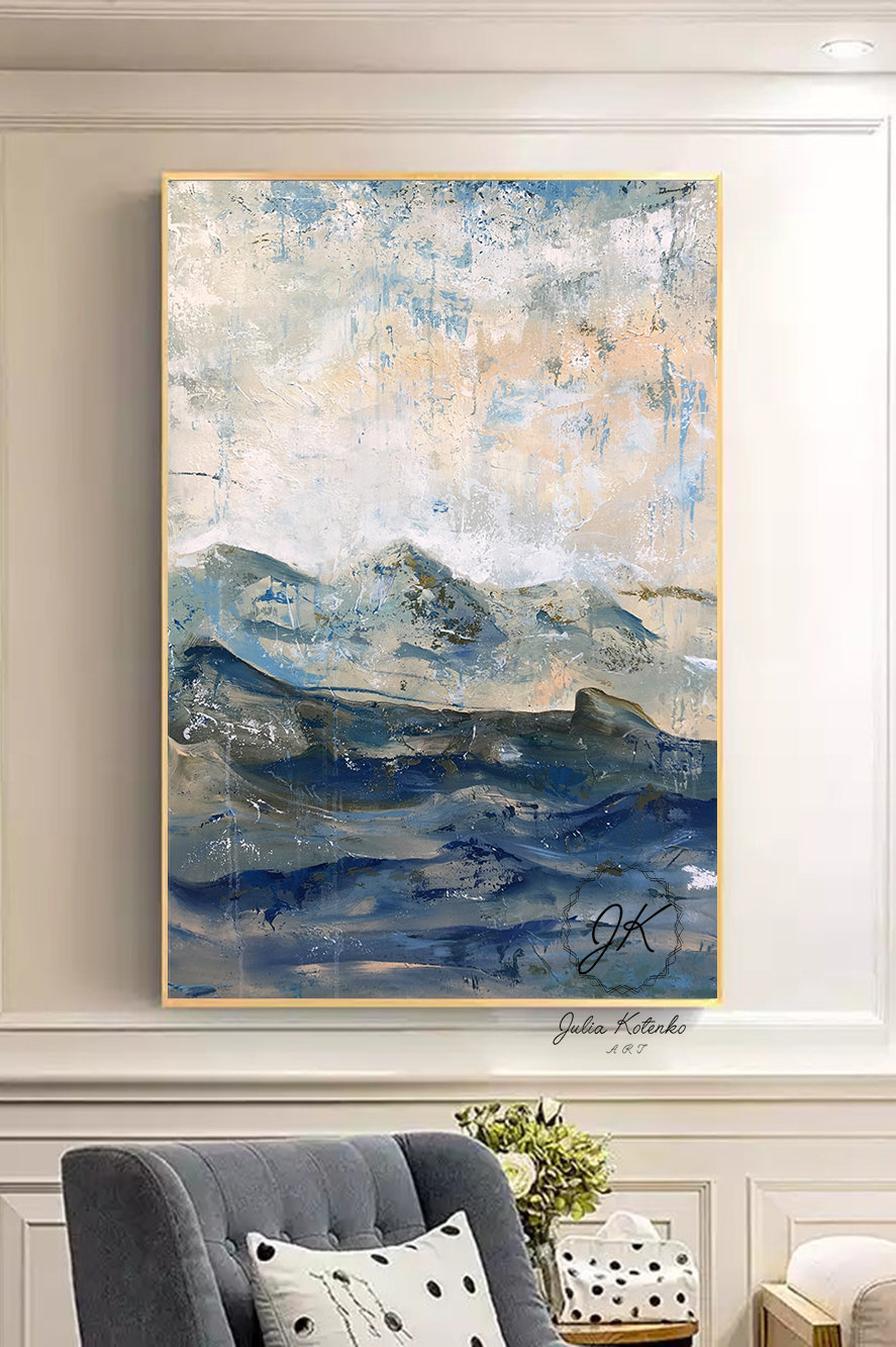 Abstract Blue Landscape Oil Painting Abstract Mountains Textured Wall Art