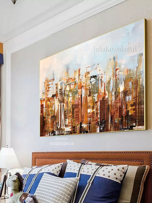 Oversize Painting New York City Art Large City Abstract Painting by Julia Kotenko