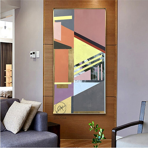 Geometric Large Canvas art, Gold Leaf Abstract Painting on Canvas by Julia Kotenko