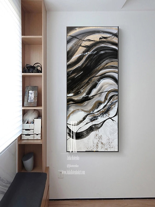 Black and White painting, Gold Leaf Painting, Large Wall art  by Julia Kotenko