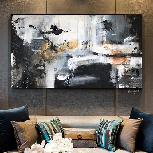 Black and White abstract paintings on canvas, Extra Large wall art by Julia Kotenko