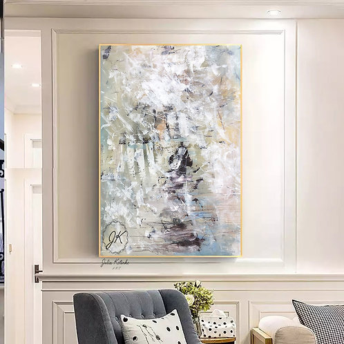 Large Abstract Oil Painting,Textured Large Wall Art by Julia Kotenko