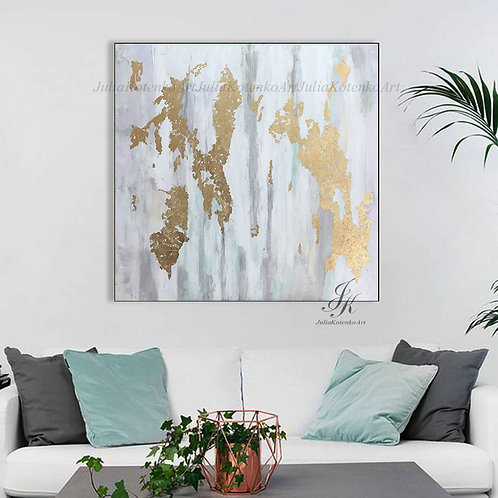 Abstract oil painting Gold Leaf Painting on Canvas by Julia Kotenko