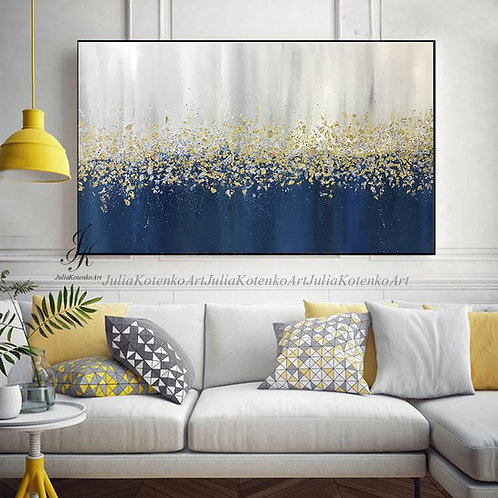 Large Abstract Oil Painting Gold Leaf Silver Leaf Art On Canvas by Julia Kotenko
