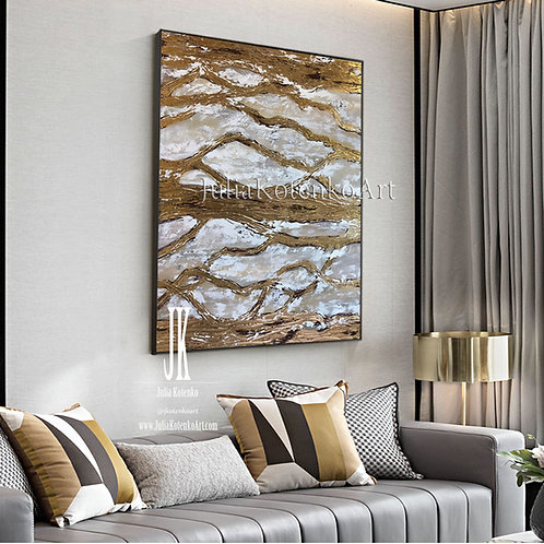 Abstract Painting Gold Painting Gray painting Texture wall art Gold Leaf Art by Julia Kotenko
