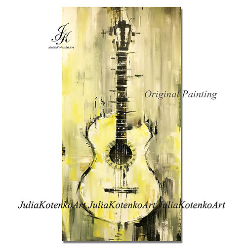 Guitar Abstract painting, Gift for a musician Textured Painting Music Art