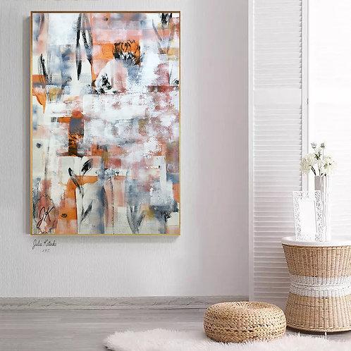 Large Canvas Artwork, White Orange Abstract Canvas Art, Original Painting by Julia Kotenko