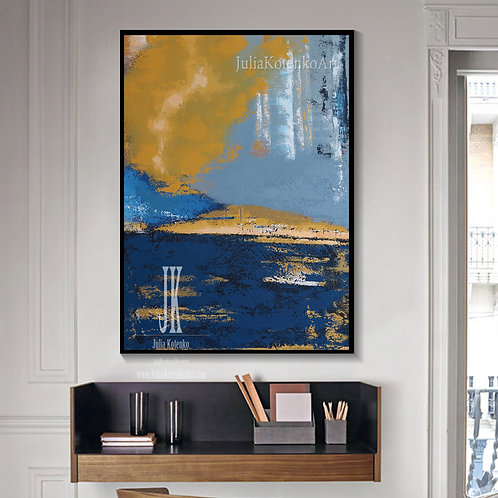 Abstract Landscape Painting, Blue Painting, Abstract Wall Art