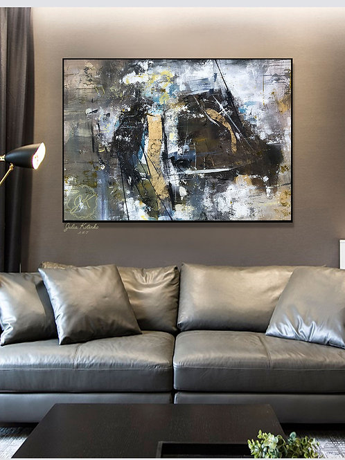 Original Abstract Oil Painting-Gold Leaf Painting  Textured Art Decor on Canvas by Julia Kotenko