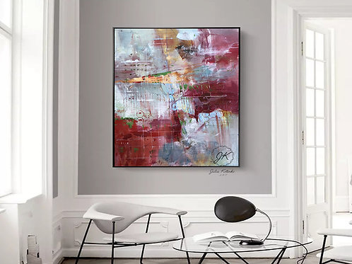 Extra Large Wall Art, Colorful Abstract Painting, Modern Decor Textured painting by Julia Kotenko