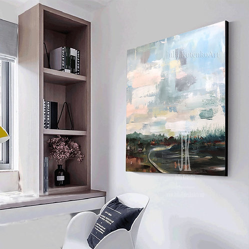 Landscape Paintings on Canvas,Blue Green painting,Unique Artwork,Large Wall Art by Julia Kotenko