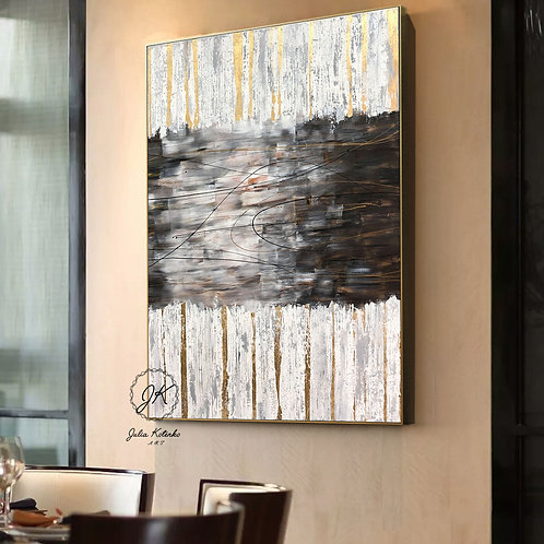 Large Abstract Oil Painting, Textured painting,Gold Leaf Painting by Julia Kotenko