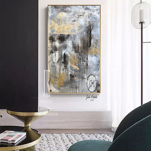 Grey Painting,Abstract Artwork Gold Leaf Painting,Contemporary Art by Julia Kotenko